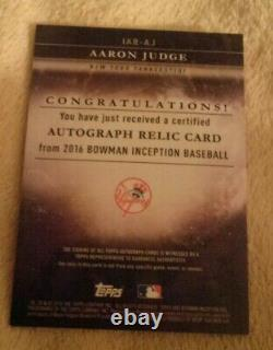 2016 Bowman Inception Aaron Judge Rookie Auto Black Jersey cheapest 1 on eBay MC