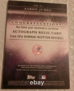 2016 Bowman Inception Aaron Judge Rookie Auto Red Jersey Beautiful Flawless Card