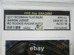 2017 Bowman Platinum AARON JUDGE Signed Auto Rookie Radar RC #4/50 Gem Mint 10