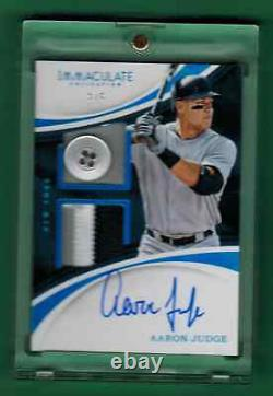 2017 Panini Immaculate Collection Aaron Judge Auto On Card Dual Patch Button 3/5