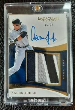 2017 Panini Immaculate Collection Aaron Judge Auto Patch Rookie #'d 15/25. Read