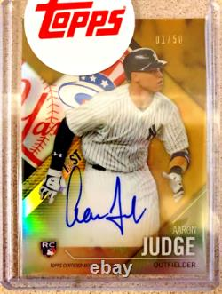 2017 Topps Finest Firsts Gold Refractor Auto 01/50! Aaron Judge RC New York
