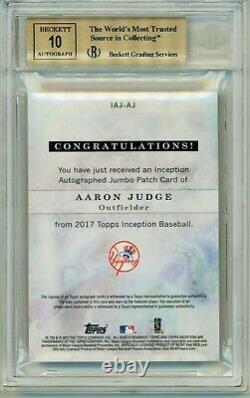 2017 Topps Inception Aaron Judge 1/1 Auto/jumbo Patch Rc. Only 10 Made Bgs 9.5