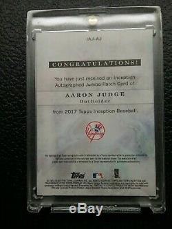 2017 Topps Inception Aaron Judge Auto Autographed Jumbo Rookie Patch 33/45