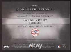 2017 Topps Inception Aaron Judge Silver Signings RC Auto Autograph /99