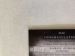2017 Topps Inception Silver Signings #SSAJ Aaron Judge /99 RC Auto