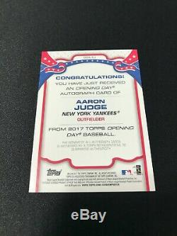2017 Topps Opening Day Aaron Judge Autographed Rookie Card