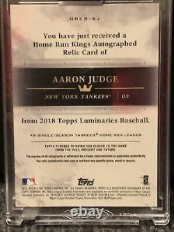2018 Topps Luminaries Aaron Judge Home Run Kings Autographed Relic Card #13/15