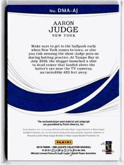 2019 Panini Immaculate AARON JUDGE DUAL JERSEY AUTO /25 On Card Yankees