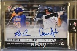 2019 Topps Now Pete Alonso & Aaron Judge Dual Signed Auto Card /99 Rc Hr Record