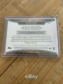2020 Topps Tribute Franchise Best Autographed Yankees Aaron Judge 2/15. WOW