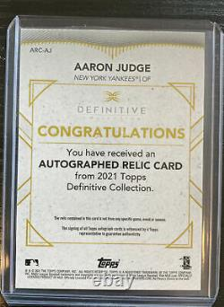 2021 Topps Definitive Aaron Judge Auto Autographed Relic #d 11/15 Yankees