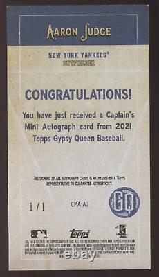 2021 Topps Gypsy Queen Aaron Judge Black Captain's Mini Auto True 1/1 READ