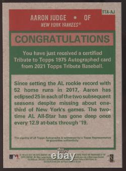 2021 Topps Tribute Aaron Judge Yankees 1975 Retro Auto Autograph /99