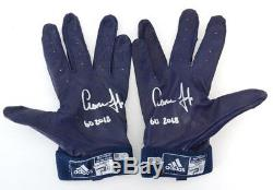 AARON JUDGE Autographed GU 2018 Navy Game Used Batting Gloves FANATICS