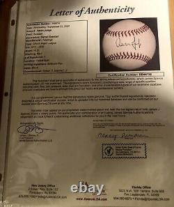 AARON JUDGE New York Yankees Signed AUTO MLB Baseball JSA FULL LETTER