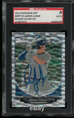 AARON JUDGE SGC AUTHENTIC AUTO 2013 Bowman Silver Ice #19 Yankees Rookie Card RC
