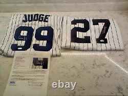 Aaron Judge AND Giancarlo Stanton Autographed Signed MAJESTIC Jerseys! JSA COA