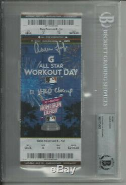 Aaron Judge Auto Signed 2017 Home Run Derby Ticket W Insc New York Yankees Bas