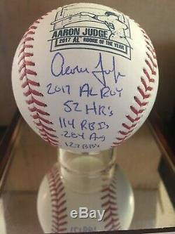 Aaron Judge Autographed Inscribed Rookie Multi Stat Baseball Fanatics LE 5/17
