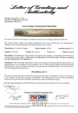 Aaron Judge Game Used Autographed Bat with Inscription 2014 Game Used PSA 9