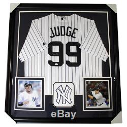 Aaron Judge New York Yankees Autographed Framed White Pinstripe Jersey JSA