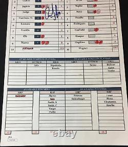 Aaron Judge New York Yankees Signed Game Used Rookie Year Lineup Card JSA