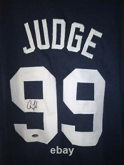 Aaron Judge Signed Blue Yankees Custom Adult Jersey COA Authenticated Ink