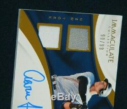 Aaron Judge Signed Game Used Jersey Card With Four Yankees Pieces Le/99 Rare