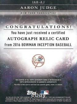 Aaron Judge Signed Topps Bowman Inception Baseball Card Game Used Relic Black