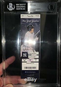 Aaron Judge Signed Yankees Mlb Debut 8/13/16 Full Season Ticket Beckett Slabbed