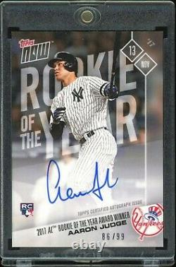 Aaron Judge Signed Yankees Topps Now Rookie Of The Year Award #os-64a /99 Rare