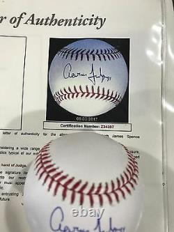 Aaron Judge Yankees Autographed Auto Baseball Ball JSA Certified INSCRIBED 99