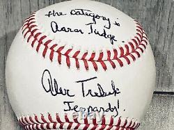 Alex Trebek Auto Signed Baseball Jeopardy Aaron Judge Yankees New York JSA COA