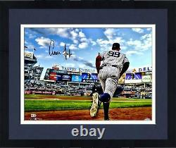 Framed Aaron Judge New York Yankees Signed 16 x 20 Running Out of Dugout Photo