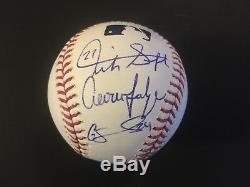 Giancarlo Stanton, Aaron Judge, & Gary Sanchez Autographed Rawlings MLB, GFA
