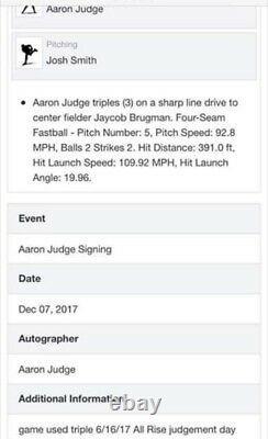 Historic Roy 2017 Aaron Judge 3rd Career Triple G/u Autographed, 3 Inscriptions