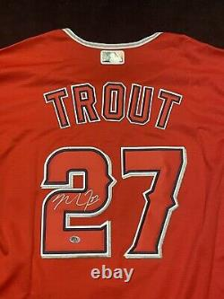 Mike Trout Signed Red Los Angeles Angels Adult XL MLB Nike Jersey COA