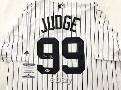 NEW YORK YANKEES AARON JUDGE signed COOL BASE MAJESTIC PINSTRIPE JERSEY BECKETT