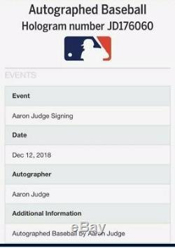 Nice! Yankees Aaron Judge Signed Mlb Baseball W Mlb Hologram Coa
