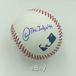 Rare Aaron Judge @TheJudge44 Twitter Handle Signed Inscribed Baseball PSA DNA