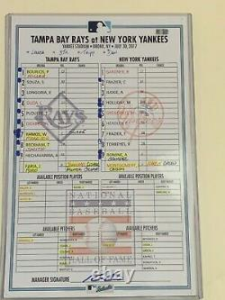 YANKEES 2017 AARON JUDGE Rookie Year MLB GAME USED Signed LINEUP CARD